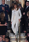 First lady Melania Trump arrives prior to United States President Donald J. Trump delivering his first State of the Union address to a joint session of the US Congress in the US House chamber in the US Capitol in Washington, DC on Tuesday, January 30, 2018.<br /> Credit: Ron Sachs / CNP<br /> (RESTRICTION: NO New York or New Jersey Newspapers or newspapers within a 75 mile radius of New York City)