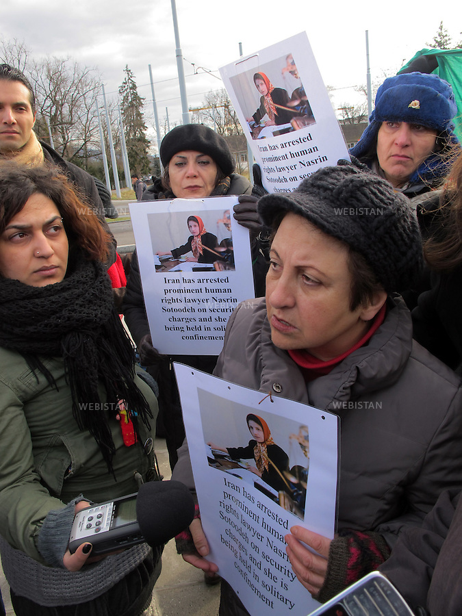 Switzerland. Geneva.UN headquarters. 20 December 2010: A sit-in outside the UN headquarters in Geneva by a group of women's rights activists to draw attention to Nasrin Sotoudeh,  the jailed lawyer in Iran.<br /> Shirin Ebadi,the first Muslim woman to win the Nobel Peace Prize; giving an interview to journalists regarding the sit in and conditions of political prisoners in Iran.