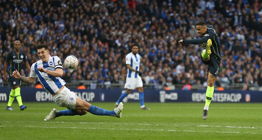 Manchester City's Danilo with a shot<br /> <br /> Photographer Rob Newell/CameraSport<br /> <br /> Emirates FA Cup Semi-Final - Manchester City v Brighton & Hove Allbion - Saturday 6th April 2019 - Wembley Stadium - London<br />  <br /> World Copyright © 2019 CameraSport. All rights reserved. 43 Linden Ave. Countesthorpe. Leicester. England. LE8 5PG - Tel: +44 (0) 116 277 4147 - admin@camerasport.com - www.camerasport.com