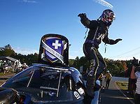 Oct 4, 2015; Mohnton, PA, USA; NHRA funny car driver Jack Beckman celebrates after winning the Keystone Nationals at Maple Grove Raceway. Mandatory Credit: Mark J. Rebilas-USA TODAY Sports