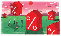 Business people trying to hold rising house with percent symbols