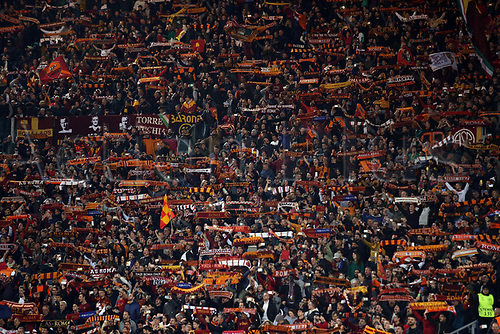 10th April 2018, Stadio Olimpico, Rome, Italy; UEFA Champions League football, quarter final, second leg; AS Roma versus FC Barcelona; supporters of AS Roma supporting their team