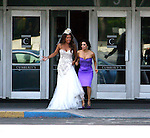 """.April 18th 2012..""""Desperate Housewives tv show Filming in Los Angeles """".Vanessa Williams wearing a white wedding dress holding hands walking with Eva Longoria in a purple & blue  gown leaving the Macy department store in Los Angeles. ...www.AbilityFilms.com.805-427-3519.AbilityFilms@yahoo.com"""