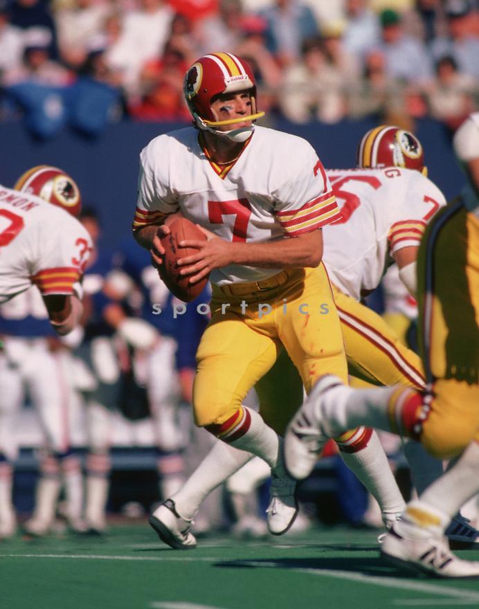 Washington Redskins Joe Theismann (7)  during a game from his 1978 season with the  Washington Redskins. Joe Theismann played for 12 seasons, all with the Washington Redskins and was a 2-time Pro-Bowler.(SportPics)