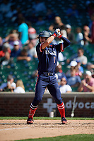Austin Hendrick (7) during the Under Armour All-America Game, powered by Baseball Factory, on July 22, 2019 at Wrigley Field in Chicago, Illinois.  Austin Hendrick attends West Allegheny High School in Oakdale, Pennsylvania and is committed to Mississippi State University.  (Mike Janes/Four Seam Images)