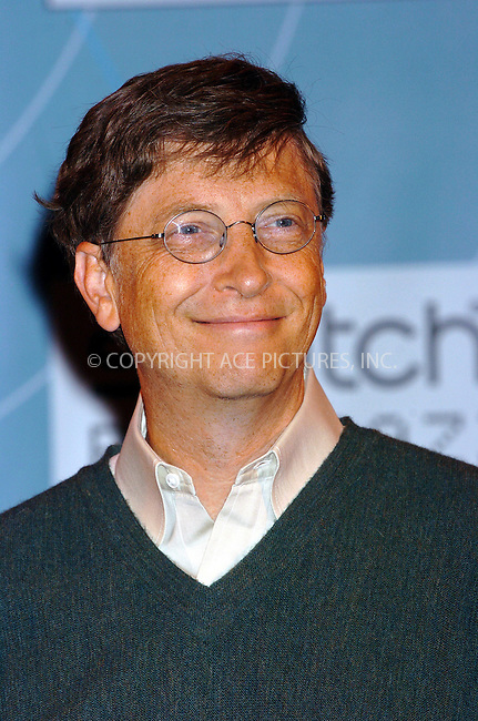 WWW.ACEPIXS.COM . . . . .  ....NEW YORK, OCTOBER 20, 2004: Bill Gates at the Swatch and Microsoft launch of wach 'Paparazzi.' Please byline: AJ Sokalner - ACE PICTURES..... *** ***..Ace Pictures, Inc:  ..Alecsey Boldeskul (646) 267-6913 ..Philip Vaughan (646) 769-0430..e-mail: info@acepixs.com..web: http://www.acepixs.com