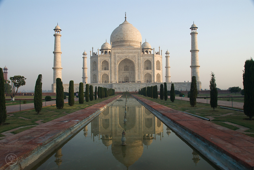 Morning reflection of the Taj Mahal, Agra, India