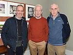 Noel Marry, Teddy Caffrey and Joe McDermott pictured at the opening of Mid-Louth Camera Club exhibition in the Market House Dunleer. Photo: Colin Bell/pressphotos.ie