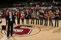 STANFORD, CA - FEBRUARY 7:  Tara VanDerveer addresses the crowd as members of the 1990 National Championship team reunite during Stanford's 77-39 win over USC on February 7, 2010 at Maples Pavilion in Stanford, California.