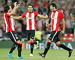 Athletic de Bilbao's Benat Etxebarria (l), Xabier Etxeita (c) and Mikel San Jose celebrate goal during Supercup of Spain 1st match.August 14,2015. (ALTERPHOTOS/Acero)
