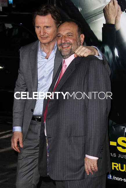 "WESTWOOD, CA, USA - FEBRUARY 24: Liam Neeson, Joel Silver at the World Premiere Of Universal Pictures And Studiocanal's ""Non-Stop"" held at Regency Village Theatre on February 24, 2014 in Westwood, Los Angeles, California, United States. (Photo by Xavier Collin/Celebrity Monitor)"
