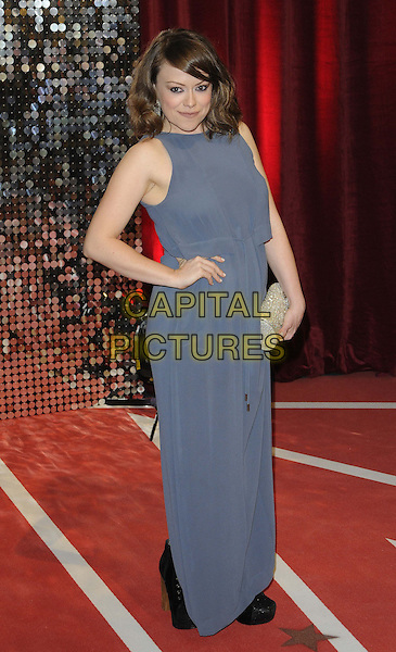 Sian Reese-Williams.attended the British Soap Awards 2013, Media City, Salford, Manchester, England, UK, 18th May 2013..full length grey gray sleeveless clutch bag  dress hand on hip long maxi .CAP/CAN.©Can Nguyen/Capital Pictures.
