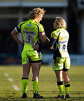 Ross Harrison and Faf de Klerk of Sale Sharks. Aviva Premiership match, between Bath Rugby and Sale Sharks on February 24, 2018 at the Recreation Ground in Bath, England. Photo by: Patrick Khachfe / Onside Images