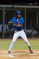 AZL Cubs 2 right fielder Brennen Davis (21) at bat during an Arizona League game against the AZL Indians 2 at Sloan Park on August 2, 2018 in Mesa, Arizona. The AZL Indians 2 defeated the AZL Cubs 2 by a score of 9-8. (Zachary Lucy/Four Seam Images)