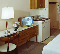 Crown Motel, Wildwood, New Jersey Black & White TV & small kitchen area. 1960's