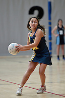 Action from the Netball - Junior Tournament at ASB Sports Centre, Wellington, New Zealand on Thursday 6 August  2015.<br /> Photo by Masanori Udagawa. <br /> www.photowellington.photoshelter.com.