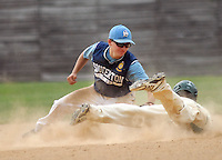 Souderton 's David Schreffler tags out Pennridge's Dan Shane as he slides into second base to end the sixth inning at Quakertown Memorial Park Monday July 13, 2015 in Quakertown, Pennsylvania.  (Photo by William Thomas Cain)