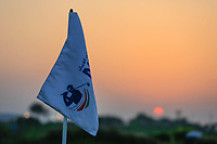 Pinflag at sunset during the second round of the NBO Open played at Al Mouj Golf, Muscat, Sultanate of Oman. <br /> 16/02/2018.<br /> Picture: Golffile | Phil Inglis<br /> <br /> <br /> All photo usage must carry mandatory copyright credit (&copy; Golffile | Phil Inglis)