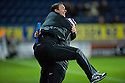 COUNTY MANAGER DEREK ADAM CELEBRATES AFTER COLIN MCMENAMIN SCORES THE LATE EQUALISER