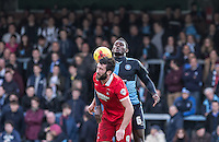 Aaron Pierre of Wycombe Wanderers & Ollie Palmer of Leyton Orient in action during the Sky Bet League 2 match between Wycombe Wanderers and Leyton Orient at Adams Park, High Wycombe, England on 23 January 2016. Photo by Andy Rowland / PRiME Media Images.