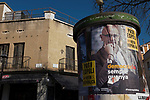 Sant Cugat del Valles - Election posters featuring local resident and Catalan foreign minister Raul Romeva, jailed following the October 1st referendum.<br /> <br /> Posters for Catalan Regional Elections, December 2017, called by Spanish Primer Minister Rajoy following the October 1st referendum on independence, and the application of Article 155 of the Spanish constitution - an attempy by Spain to maintain its unity. While right wing anti-independence party Ciudadanos won the election, they didn't get a majority - a coalition of pro-independence parties instead restored the exiled Carles Puigdemont to the Catalan presidency.