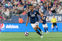FOXBOROUGH, MA - AUGUST 25: Michael Mancienne #28 of New England Revolution controls the ball during a game between Chicago Fire and New England Revolution at Gillette Stadium on August 24, 2019 in Foxborough, Massachusetts.