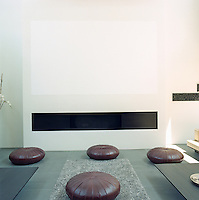 A minimalist monchrome wall painting hovers in space above the elegant strip fireplace