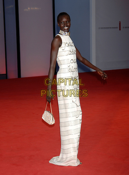 "ALEX WEK.Arrivals at screening of ""Casanova"".62nd International Film Festival,.Venice, 3rd September 2005.full length La Biennale white Valentino dress purse handbag silver diamante choker necklace model arm.Ref: PL.www.capitalpictures.com.sales@capitalpictures.com.©Capital Pictures."
