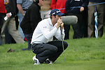 Bradley Dredge lines up his putt on the 1st hole during the final round of the Irish Open on 20th of May 2007 at the Adare Manor Hotel & Golf Resort, Co. Limerick, Ireland. (Photo by Eoin Clarke/NEWSFILE)