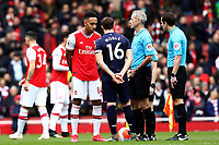 7th March 2020; Emirates Stadium, London, England; English Premier League Football, Arsenal versus West Ham United; Pierre-Emerick Aubameyang of Arsenal and Mark Noble of West Ham United have their hands behind their back and not shake hands during the coin toss
