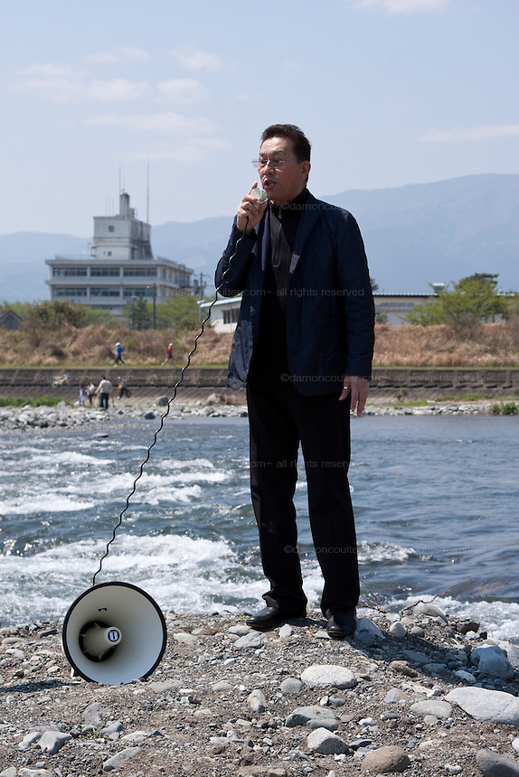 Japanese actor, Kai Ato speaks at the start of the Ashigara River festival, Kintaro duck-race in Matsuda, Kanagawa, Japan April 25th 2010