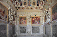 Decoration by Primaticcio, 16th century, including octagonal portrait busts, frescoes and carved stucco, in the Bedchamber of the Duchesse d'Etampes or the King's staircase, Chateau de Fontainebleau, France. The Palace of Fontainebleau is one of the largest French royal palaces and was begun in the early 16th century for Francois I. It was listed as a UNESCO World Heritage Site in 1981. Picture by Manuel Cohen