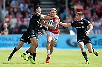 Jason Woodward of Gloucester Rugby is tackled high by Sean Maitland of Saracens. Gallagher Premiership Semi Final, between Saracens and Gloucester Rugby on May 25, 2019 at Allianz Park in London, England. Photo by: Patrick Khachfe / JMP