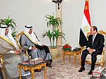 Egyptian President Abdel Fattah al-Sisi meets with Kuwait's Foreign Minister and First Deputy Prime Minister Sheikh Sabah Khalid Al-Hamad Al-Sabah in Cairo, Egypt on August 7, 2017. Photo by Egyptian President Office