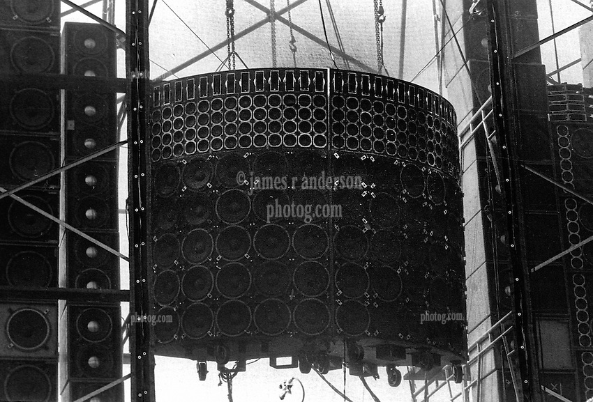 The Vocal Channel Speaker Array of the infamous Wall of Sound. The Grateful Dead Concert at Dillon Stadium on 31 July 1974. B&W Film Scan. Photographed with a Nikon FTn Camera and Kodak Tri-X.