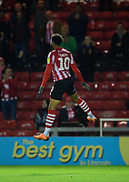 Lincoln City's Matt Green celebrates scoring his side's second goal<br /> <br /> Photographer Chris Vaughan/CameraSport<br /> <br /> The EFL Checkatrade Trophy Northern Group H - Lincoln City v Wolverhampton Wanderers U21 - Tuesday 6th November 2018 - Sincil Bank - Lincoln<br />  <br /> World Copyright © 2018 CameraSport. All rights reserved. 43 Linden Ave. Countesthorpe. Leicester. England. LE8 5PG - Tel: +44 (0) 116 277 4147 - admin@camerasport.com - www.camerasport.com