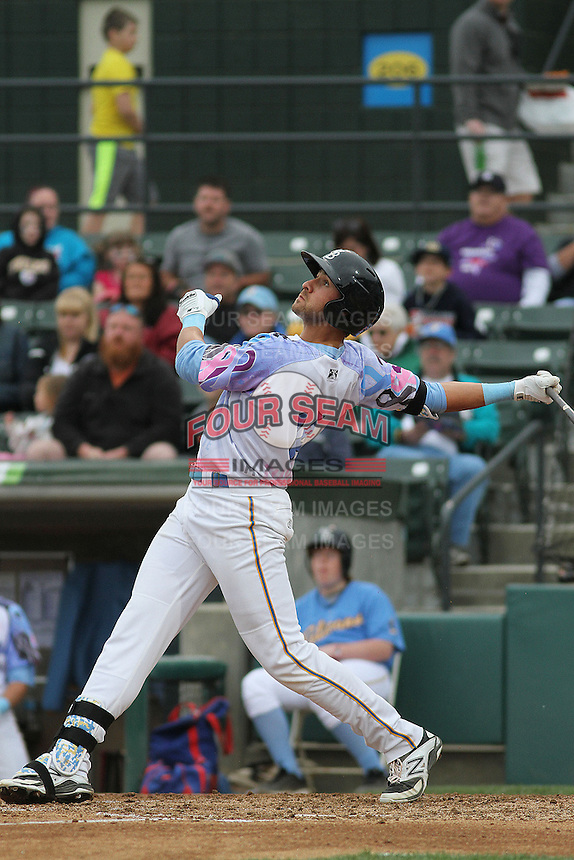 Myrtle Beach Pelicans infielder Joey Gallo #14 at bat during a game against the Salem Red Sox at Ticketreturn.com Field at Pelicans Ballpark on April 6, 2014 in Myrtle Beach, South Carolina. Salem defeated Myrtle Beach 3-0. (Robert Gurganus/Four Seam Images)