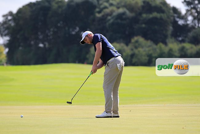 Max Orrin (ENG) on the 9th tee during Round 4 of the Northern Ireland Open Challenge in Galgorm Golf Club on Saturday 31st August 2014.<br /> Picture:  Thos Caffrey / www.golffile.ie