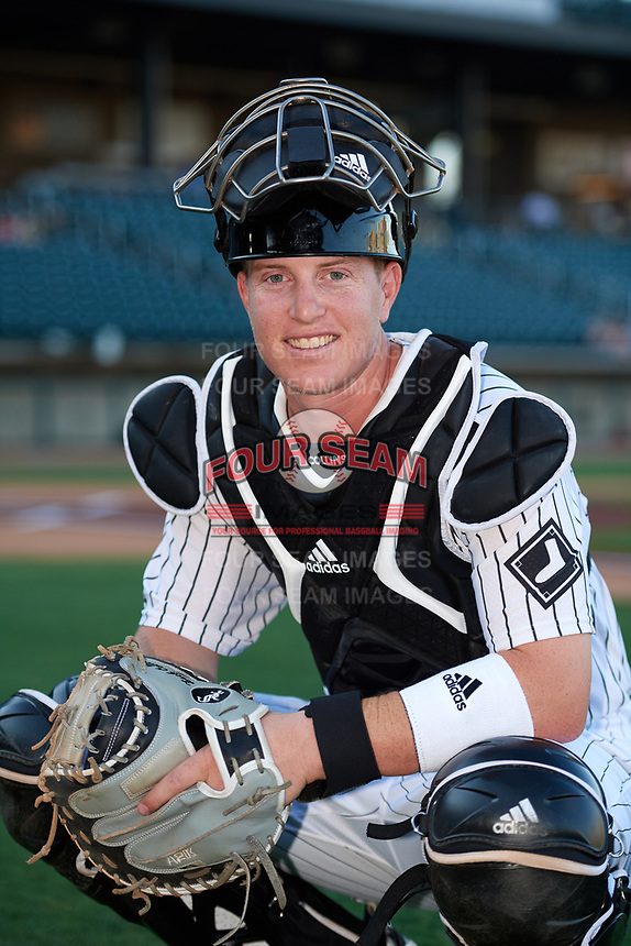 Birmingham Barons catcher Zack Collins (24) poses for a photo before a game against the Pensacola Blue Wahoos on May 8, 2018 at Regions Field in Birmingham, Alabama.  Birmingham defeated Pensacola 5-2.  (Mike Janes/Four Seam Images)