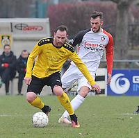 SCT Menen - KFC Izegem :<br /> Bart Buysse (L) gaat voorbij Ayron Verkindere (R)<br /> <br /> Foto VDB / Bart Vandenbroucke