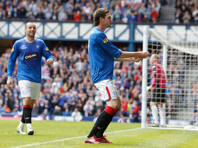 Kyle Lafferty celebrates scoring goal no 2 for Rangers by sprayimg imaginary champagne