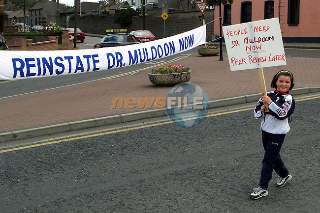 Supporters of Dr. Colman Muldoon marching through the town on Saturday..Picture Paul Mohan Newsfile.NO BYLINE PLEASE