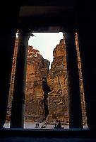 Columns of El Khazneh Treasury entrance and view of the Siq Canyon, Petra, Jordan.