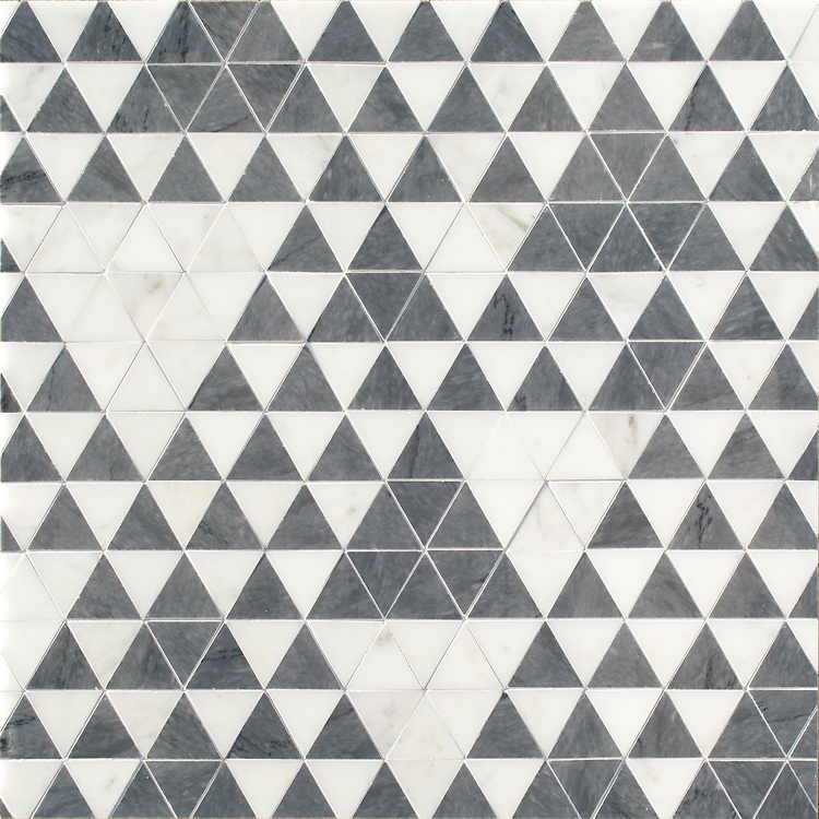 Cyril, a hand-cut stone mosaic, shown in polished Calacatta Tia and Bardiglio, is part of the Palazzo™ collection by New Ravenna.