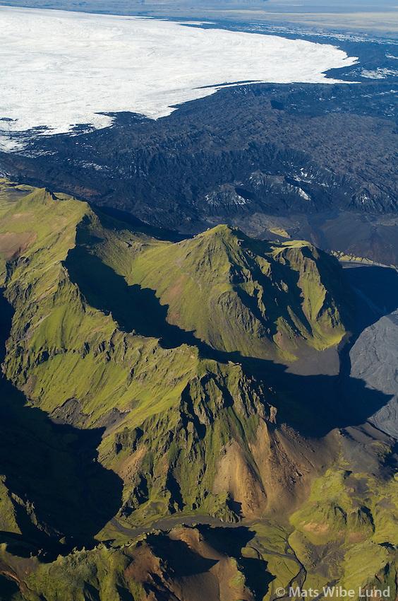 Höfðabrekkuafréttur, Vatnsrásarhöfuð og Höfðabrekkujökull séð til norðurs, Myrdalshreppur / Hofdabrekkuafrettur, Vatnsrasarhofud mountain and Hofdabrekkujokull viewing north, Myrdalshreppur.