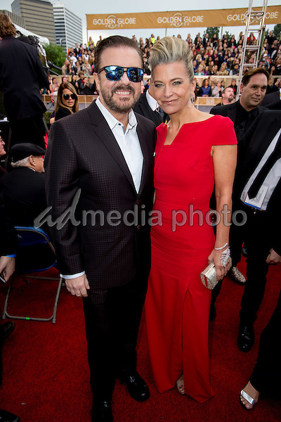 Host Ricky Gervais and Jane Fallon attend the 73rd Annual Golden Globe Awards at the Beverly Hilton in Beverly Hills, CA on Sunday, January 10, 2016. Photo Credit: HFPA/AdMedia
