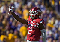 NWA Democrat-Gazette/BEN GOFF @NWABENGOFF<br /> Kamren Curl, Arkansas cornerback, celebrates after a stop against LSU in the first quarter Saturday, Nov. 11, 2017 at Tiger Stadium in Baton Rouge, La.