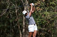 CHAPEL HILL, NC - OCTOBER 11: Kajal Mistry of the University of Arkansas tees off at UNC Finley Golf Course on October 11, 2019 in Chapel Hill, North Carolina.