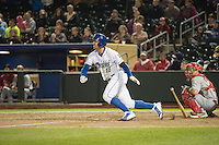 Lane Adams (18) of the Omaha Storm Chasers at bat against the Memphis Redbirds in Pacific Coast League action at Werner Park on April 24, 2015 in Papillion, Nebraska.  (Stephen Smith/Four Seam Images)
