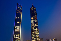 The Shanghai World Financial Center (l) and Jin Mao Tower (r) in the Lujiazui Financial District, Pudong section of Shanghai, China